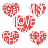 Sistema de la tarjeta del día de San Valentín Te amo stock de ilustración