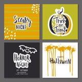 Sistema de la tarjeta de felicitación dibujada mano de Halloween con citas de la caligrafía, la calabaza chispeante atractiva lin stock de ilustración