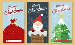 Sistema de la tarjeta de felicitación de la Navidad Colecciones de la tarjeta de felicitación del texto de la Feliz Navidad con l libre illustration