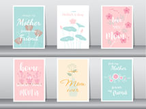 Sistema de la tarjeta feliz del día del ` s de la madre, cartel, plantilla, tarjetas de felicitación, flor, ejemplos del vector ilustración del vector