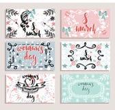 Sistema de la tarjeta para el día internacional del ` s de la mujer, el 8 de marzo bosquejo dibujado mano Fotos de archivo libres de regalías