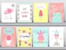 Sistema de la tarjeta de verano en diseño del modelo, cartel, plantilla, saludo, tarjetas, frutas, helado, ejemplos del vector Fotos de archivo