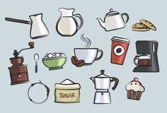 Sistema de la taza de café Foto de archivo libre de regalías