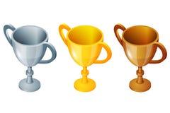 Sistema de la taza del ganador Oro del vector de la taza del ganador, plata y taza del ganador del bronce Del premio tercio y seg Foto de archivo