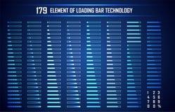 Sistema de la tecnología de Digitaces del extracto de la barra de cargamento UI HUD futurista stock de ilustración