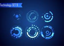 Sistema de la tecnología de Digitaces del extracto del círculo UI HUD Virt futurista stock de ilustración