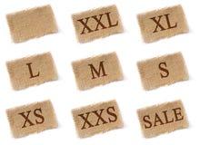 Sistema de la tela de las etiquetas del tamaño Fotografía de archivo libre de regalías