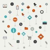 Sistema de la tendencia plano, línea sistema del icono. Imagen de archivo libre de regalías