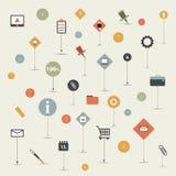 Sistema de la tendencia plano, línea sistema del icono Imagen de archivo