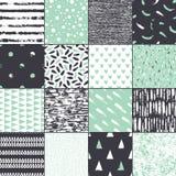 Sistema de la textura inconsútil 16 Formas abstractas dibujadas una pluma y una tinta anchas ilustración del vector