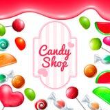 Sistema de la tienda del caramelo Fotos de archivo libres de regalías