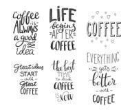Sistema de la tipografía del café de la cita Imágenes de archivo libres de regalías
