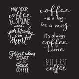 Sistema de la tipografía del café de la cita Foto de archivo