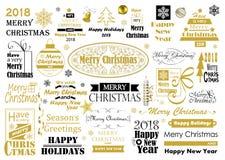 Sistema de la tipografía de la Feliz Navidad stock de ilustración