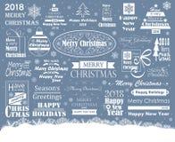 Sistema de la tipografía de la Feliz Navidad ilustración del vector