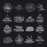 Sistema de la tipografía de la Feliz Navidad y de la Feliz Año Nuevo Ejemplo del vintage del vector stock de ilustración
