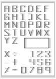 Sistema de la tipografía la mezcla se descolora los símbolos del número y de la matemáticas de la tipografía del diseño Foto de archivo