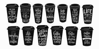 Sistema de la tipografía de la taza de café de la cita libre illustration