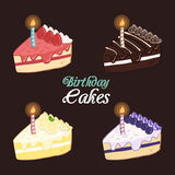 Sistema de la torta de cumpleaños Fotos de archivo