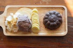 Sistema de la torta de la lava del chocolate Fotos de archivo