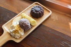 Sistema de la torta de la lava del chocolate Fotografía de archivo