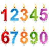 Sistema de la vela del número del cumpleaños Foto de archivo