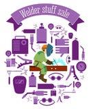 Sistema de la venta de la materia del soldador ilustración del vector