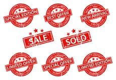 Sistema de la venta de los sellos de goma ilustración del vector