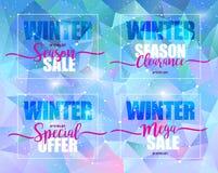 Sistema de la venta del invierno en fondo triangular azul Ejemplo del vector, diseño de la plantilla, lista, folleto, bandera, cu