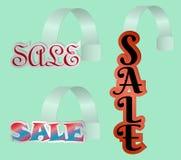 Sistema de la venta de los wobblers, material de la posición, ejemplo del vector, venta de la palabra en letras coloreadas libre illustration