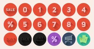 Sistema de la venta plana de los iconos Fotos de archivo