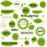 Sistema de la venta de la primavera de los iconos para sus banderas, sitios web, carteles Imagen de archivo