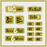 Sistema de la venta y del descuento de etiquetas del vintage El mejor precio, oferta especial Fotos de archivo libres de regalías