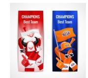 Sistema de la vertical de las banderas del deporte de la fan Fotografía de archivo libre de regalías