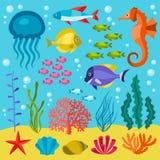 Sistema de la vida marina de iconos, de objetos y de animales de mar Imagen de archivo libre de regalías