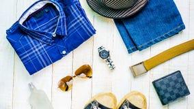 Sistema de la visión superior de ropa para los hombres Imágenes de archivo libres de regalías