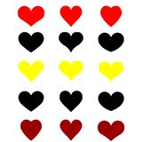 Sistema de la web de corazones en el fondo blanco, rojo negro amarillo ejemplo de la bandera de los corazones, logotipo, impresió fotografía de archivo libre de regalías