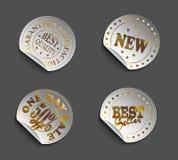 Sistema de labels08black-gold Imágenes de archivo libres de regalías