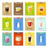 Sistema de las Anuncio-tarjetas - banderas, etiquetas, etiquetas del paquete con las bebidas de la historieta Imagen de archivo