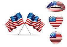 Sistema de las banderas americanas de diversas formas Fotos de archivo libres de regalías