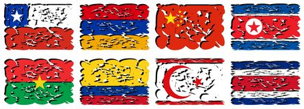 Sistema de las banderas artísticas del mundo aislado Imagen de archivo libre de regalías
