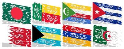 Sistema de las banderas artísticas del mundo aislado Imagenes de archivo