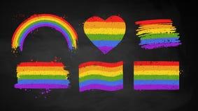 Sistema de las banderas del color de la bandera de LGBT stock de ilustración