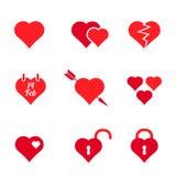 Sistema de las banderas del día de tarjeta del día de San Valentín Fotografía de archivo libre de regalías