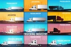 Sistema de las banderas del transporte por camión, logístico y de la entrega Semi carro Ilustración del vector ilustración del vector