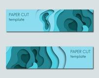 Sistema de las banderas horizontales cortadas de papel del estilo stock de ilustración