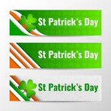 Sistema de las banderas horizontales del vector moderno, jefes de página con el texto para el día de St Patrick Ilustración del v Fotografía de archivo