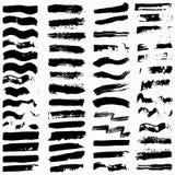 Sistema de las banderas negras del grunge para su diseño Fotografía de archivo
