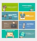 Sistema de las banderas planas para el sitio web de la empresa de negocios, plantillas del concepto del infographics del web de l stock de ilustración