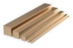 Sistema de las barras cuadradas de bronce Fotos de archivo